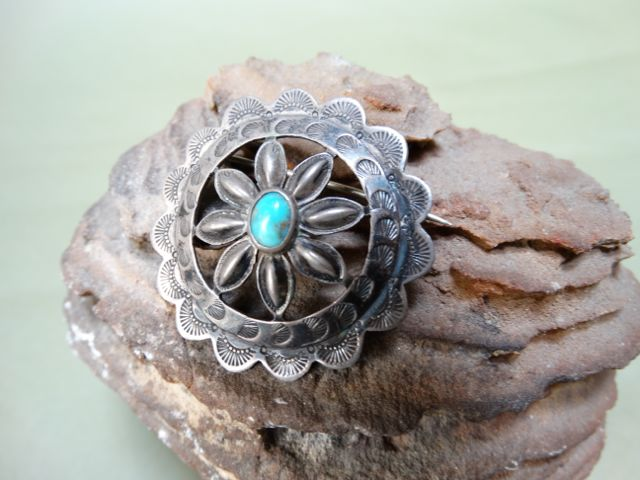 Navajo Turquoise and Silver Medallion Brooch