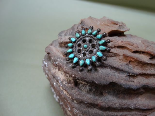 Turquoise and Silver Medallion Pin