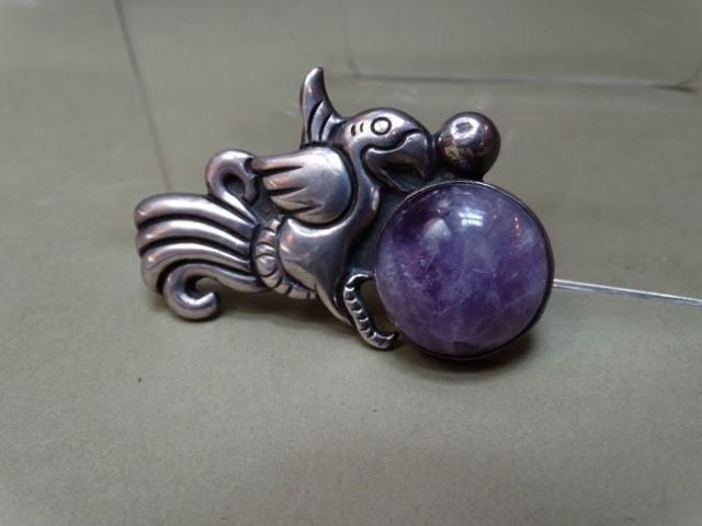 Mexican Spratling Silver and Amethyst Bird Pin