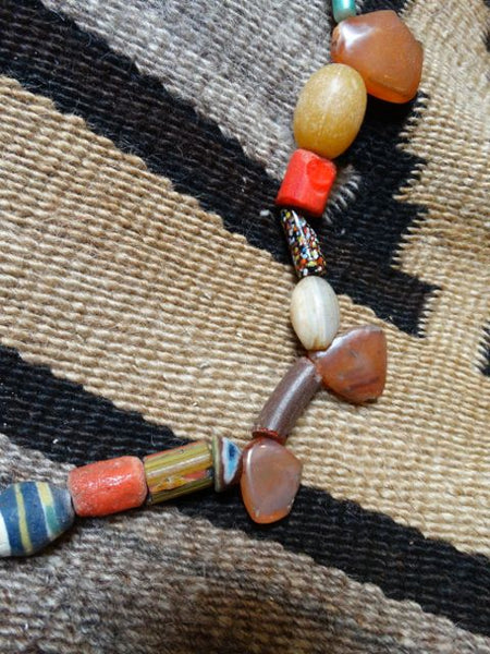 American Indian Orange Trade Beads Necklace