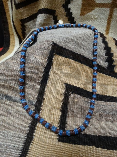 American Indian Brown & Blue Trade Bead Necklace