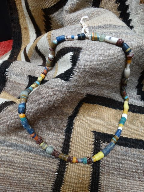 American Indian Trade Bead Necklace in Blues and Yellows
