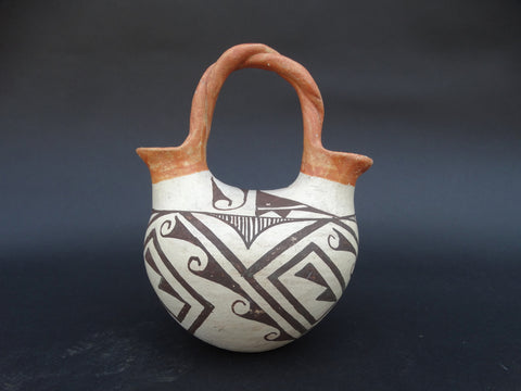 Acoma Indian Double-Spouted Entwined-Double-Handled Pottery Vessel