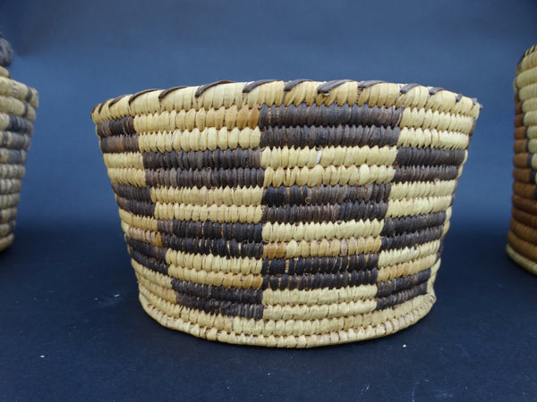 Alternating Rectangles Design Native American Basket circa 1930s