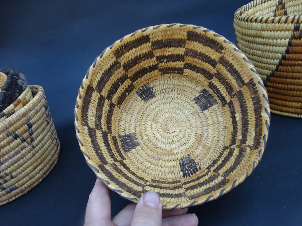 Alternating Rectangles Cylindrical Native American Olla Basket circa 1920