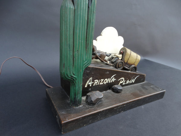 Arizona Plain Covered Wagon and Cactus Table Lamp c 1940