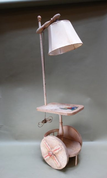 Monterey Style Table Top Lamp Ox-cart Base