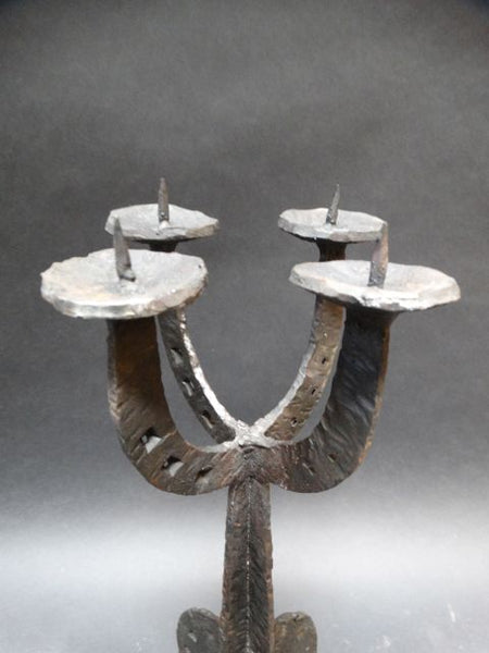 Mexican Midcentury Wrought Iron 4-Branch Candelabra