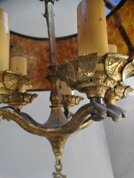 5-Light Mica Shade Chandelier with Coat of Arms