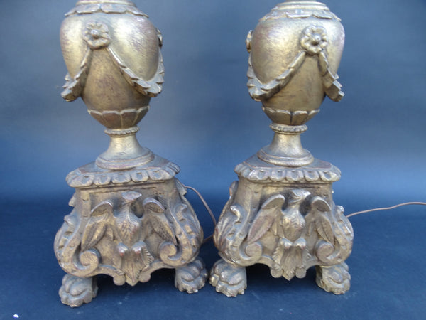 Mediterranean Hand-Carved Gilt Table Lamps (Pair)