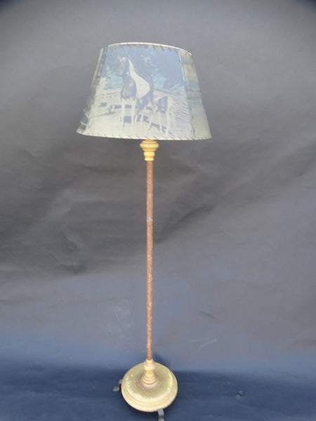 Monterey Floor Lamp, Rafia Bound Pole Decoration