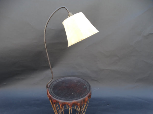 RARE Monterey Leather Drum Table Lamp/Floor Lamp