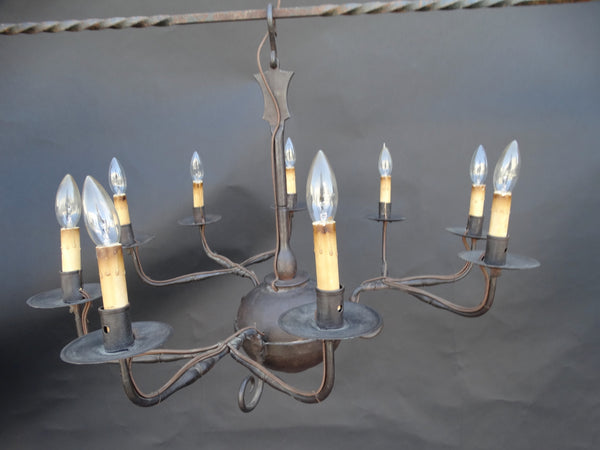 18th Century Spanish Colonial Wrought Iron Candelabra Chandelier