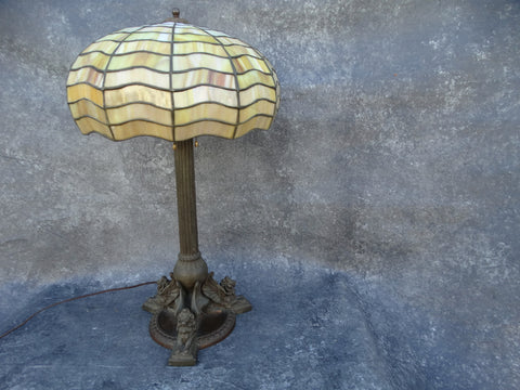 Handel Lamp Spider Web Stained Glass Shade and Winged Griffons Lamp Base