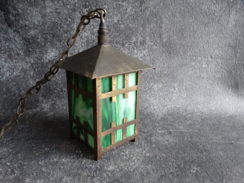 Arts & Crafts Porch Light in Brass and Green Slag Glass