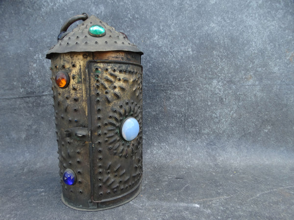 Jewelled Punched Copper Lantern c1910