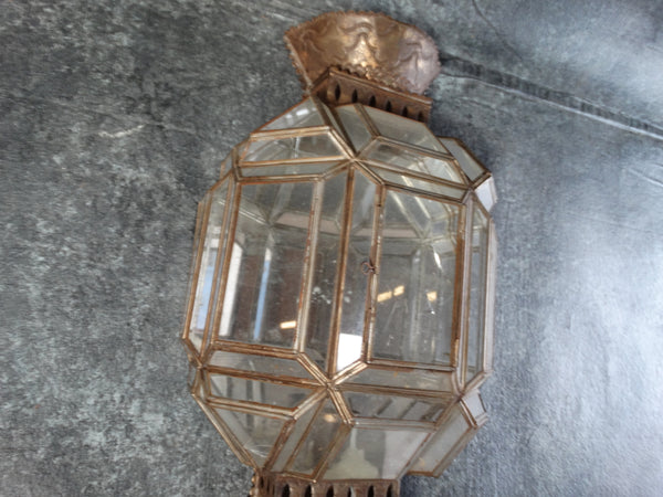 Mexican Tin Mirror Candle Sconce circa 1970s L664