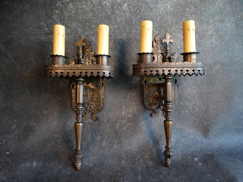 Pair of Spanish Revival Bronze Double Stick Sconces 1920s L670