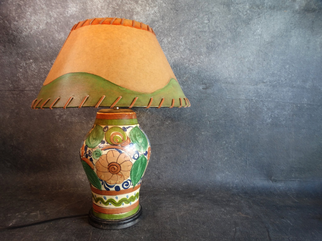 Mexican Pottery :amp with Curom Shade 1940s L674