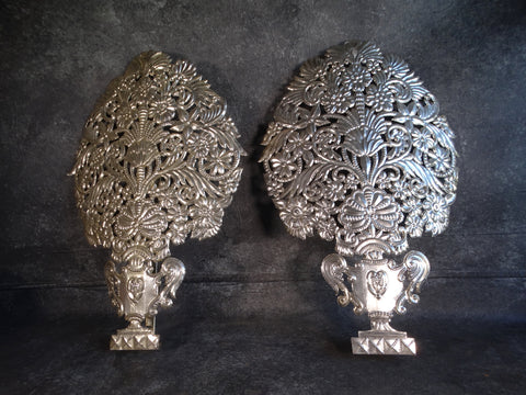 Vintage Mexican Cut Tin Wall Sconces L676