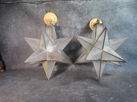 Pair of Moorish Star Pendant Lights 1920s L680