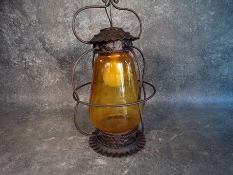 Vintage Mexican Lantern, Handblown Glass L682