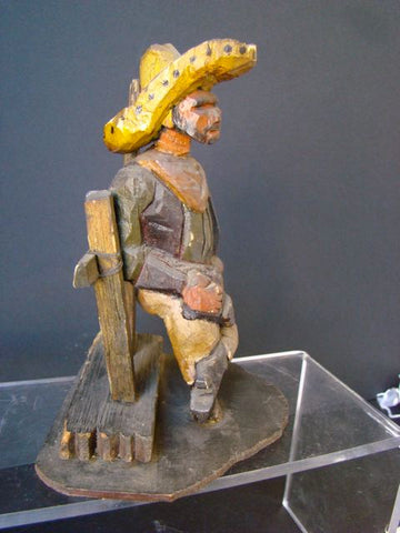 Wild West Cowboy Leaning On Fence Folk Art Woodcarving