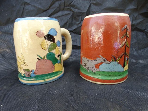 Pair of Mexican Tlaquepaque Mugs