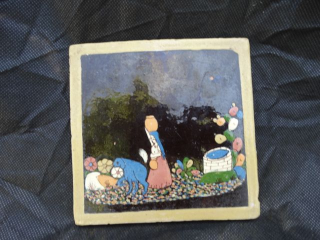 Mexican Tlaquepaque Tile: Woman at Well with Water Jug