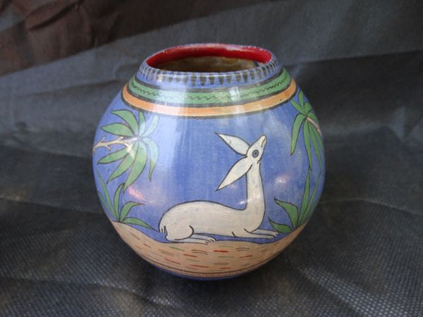 Mexican Burnished Vase with Deer
