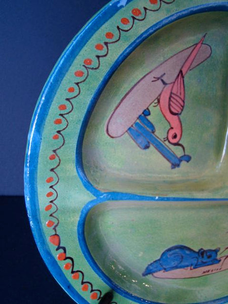 Mexican Tlaquapaque 10.75″ Green Divided Plate
