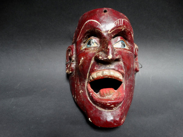 Wooden Red Mexican Folk Mask of a Man Shouting