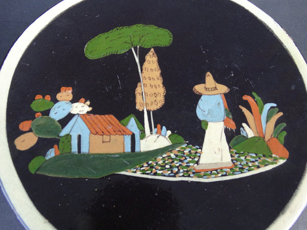 Mexican Tlaquepaque Black Plate - Man with Serape and Village