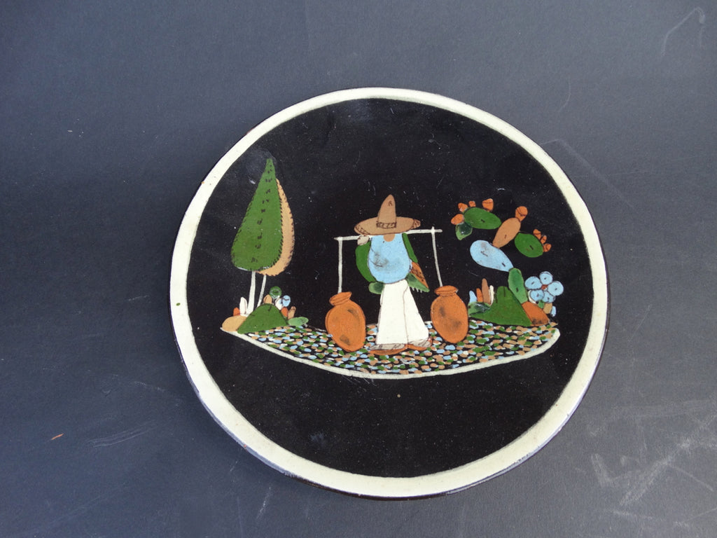 Mexican Tlaquepaque Black Plate - Man with Water Jugs