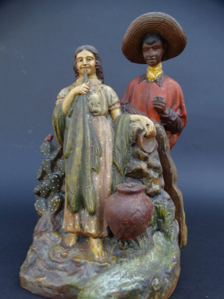 Señor and Señorita Hand Painted Bisque Bookends c 1930