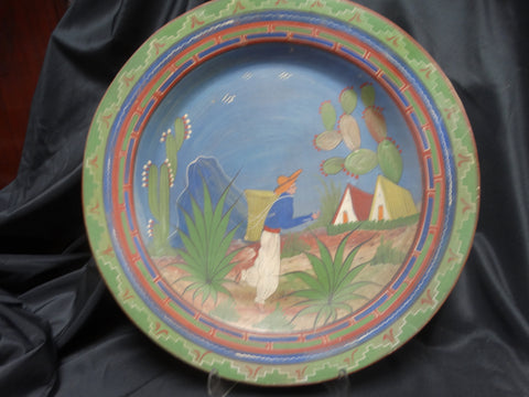 "Mexican Tlaquepaque Green Charger 20.5"" diameter"