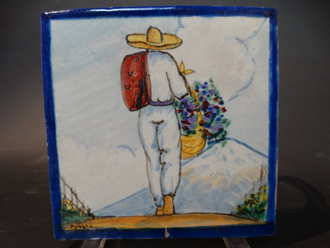 Yuriarte Puebla Talavera Tile - Man with Flowers