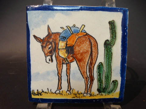 Uriarte Mexican Talavera Tile - Donkey with Cactus