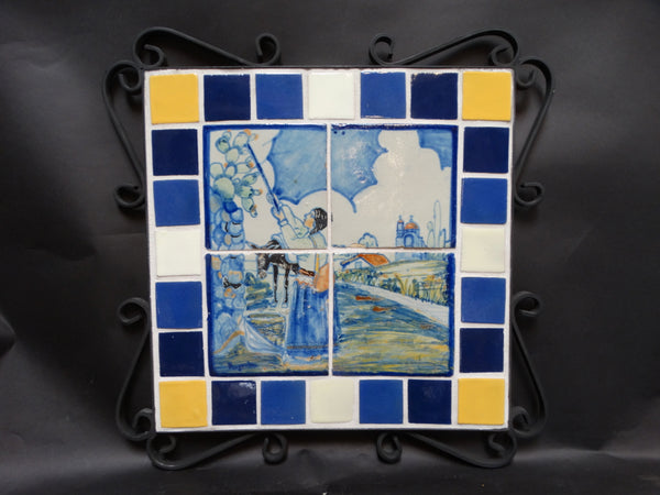 Rugerio 4-Tile Mural with 24 Vintage Tiles Bordering in Wrought Iron Surround