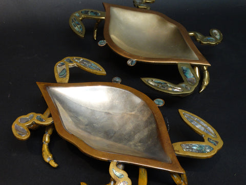 Pair of Mexican Mixed Metals (Metales Casados) Crab Dishes c 1960