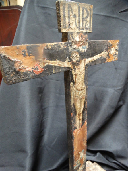 Mexican Colonial Painted Wooden Cross