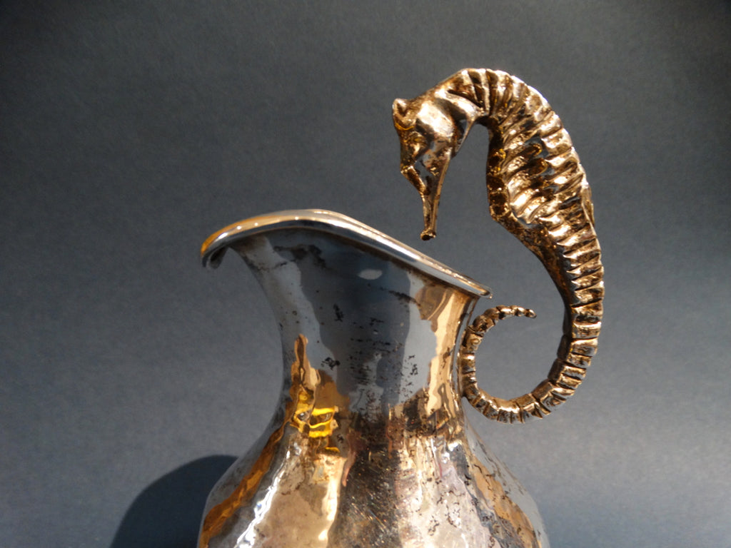 Mexican Los Castillos Silver Pitcher with Seahorse Handle