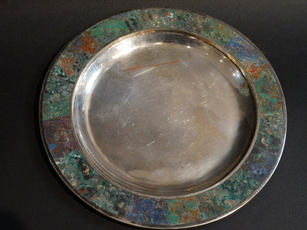 Los Castillos Silverplate Plate with Lapis