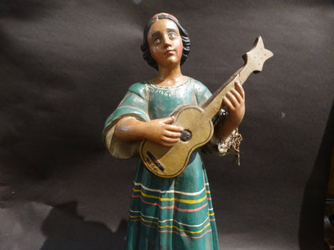 Mexican Hand-carved and Painted Wooden Figure Woman with Guitar c 1930s