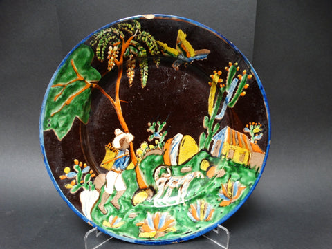 Rare Early Black Tlaquepaque Plate