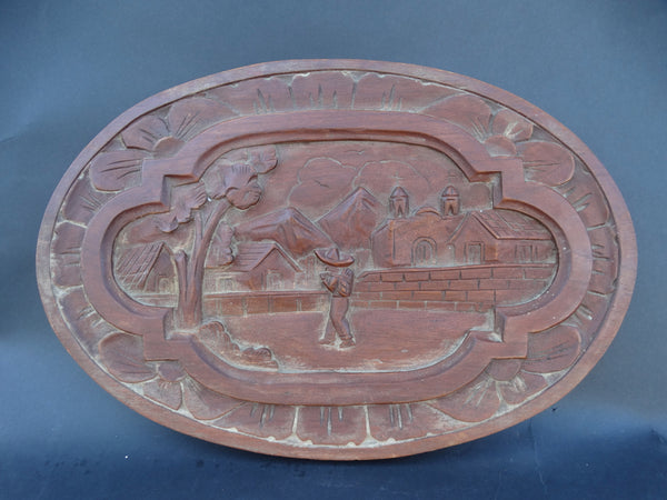 Mexican Hand-carved Oval Wooden Scenic Plaque