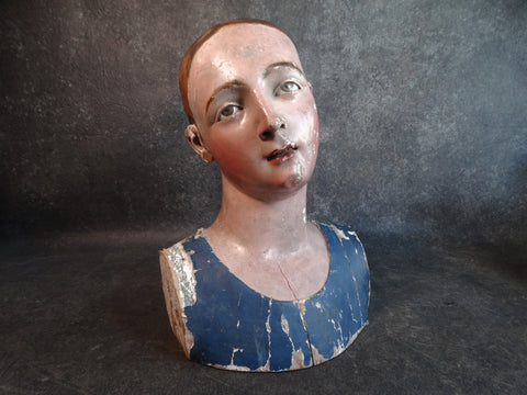 18th Century Spanish Colonial Bust of a Santo with Glass Eyes M2133