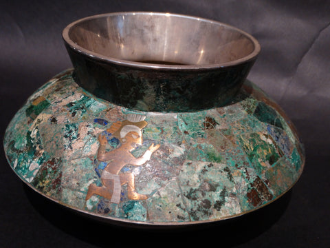 Los Castillo Low Vase in Silver, Copper, Malachite and Lapis Aztec Motif