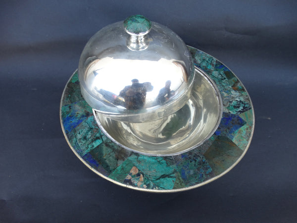 Los Castillo Silverplate and Inlaid Lapis and Malachite Covered Dish