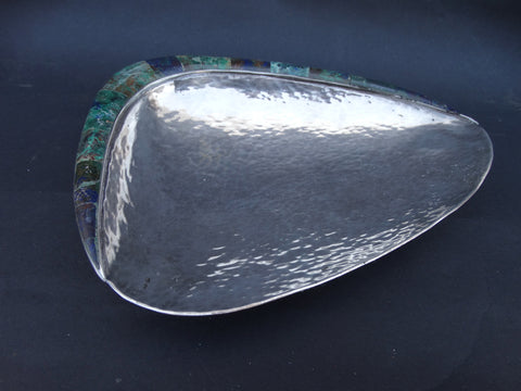 Los Castillo Hand-hammered Silver, Lapis and Malachite Shell Dish